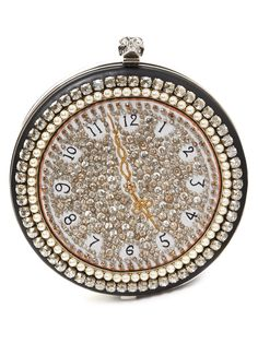 Clock crystal-embellished leather clutch   Alexander McQueen