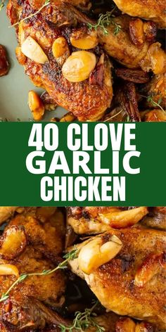 The MOST flavorful chicken - bone in chicken breast, thighs, and more cooked with yes, 40 cloves of garlic! It makes a sweet-sticky sauce that is deliciously mellow. This recipe is perfect for holiday dinner!