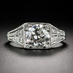 J.E. Caldwell 1.75 Carat  Platinum Diamond Art Deco Engagement Ring - Vintage Engagement Rings
