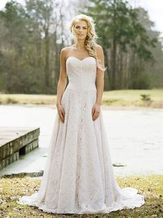 A-Line Lace Gown with Inverted V Patterns | itakeyou.co.uk #weddingdress #weddingdresses