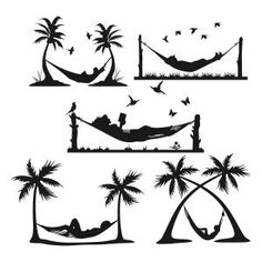 Hammock with Coconut Palm Trees and Flying Birds Cuttable Design Cut File. Vector, Clipart, Digital Scrapbooking Download, Available in JPEG, PDF, EPS, DXF and SVG. Works with Cricut, Design Space, Sure Cuts A Lot, Make the Cut!, Inkscape, CorelDraw, Adobe Illustrator, Silhouette Cameo, Brother ScanNCut and other compatible software.