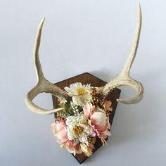 Pink Floral Deer Antlers; deer rack, antlers, wall hanging, jewelry holder, necklace holder, boho, florals, wall decor, wall art, home decor