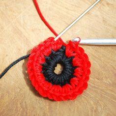 Crochet Flowers Ideas 3 - Get those hooks out. here's a free Remembrance Poppy Crochet Pattern. Crochet Butterfly Free Pattern, Crochet Coaster Pattern, Crochet Puff Flower, Crochet Flower Tutorial, Crochet Hook Set, Knitted Flowers, Crochet Flower Patterns, Crochet Cape, Crochet Socks