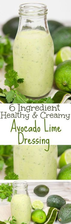 6 Ingredient Healthy & Creamy Avocado Lime Dressing recipe. A clean eating, easy homemade salad dressing with avocado, cilantro and greek yogurt. Low carb, whole 30, vegetarian and paleo. Great on salads or tacos. / Running in a Skirt