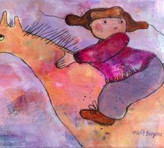 """Drømmereise 30 x 40 cm ( pakket for utstilling ) """"Dream Journey"""" by Norwegian artist Marit Bergem"""