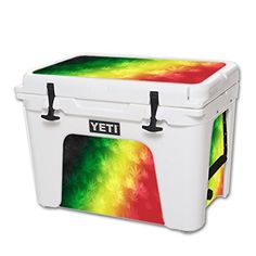 MightySkins Protective Vinyl Skin Decal for YETI Tundra 50 qt Cooler wrap cover sticker skins Rasta Rainbow -- You can get additional details at the image link.(This is an Amazon affiliate link and I receive a commission for the sales)