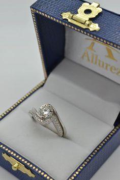 Tension Set Diamond Engagement Ring & Band Bridal Set in Platinum - Allurez.com