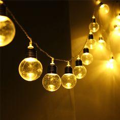 EU Plug 10M Globe Patio 20 Guirlande LED Light Led extérieure Effacer Ampoule Multicolor Chirstmas de soirée de mariage Décor féerique Lampe DC31V