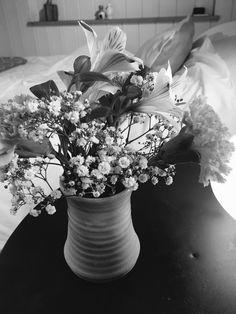 Fresh flowers inside our cosy Eyam shepherds hut, Peak District .....