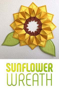 Mister Domestic's Sunflower Fold'n Stitch Wreath, based on Poorhouse Quilt Designs Fold 'n Stitch Wreath Quilt Pattern