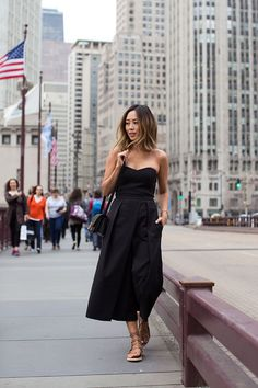 Black Strapless Jumpsuit and Lace Up Sandals in Chicago (Song of Style)