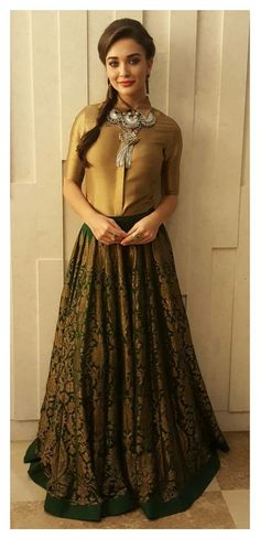 Golden formal shirt tucked in lehenga. Pakistani Dresses, Indian Dresses, Indian Outfits, Indian Skirt, India Fashion, Asian Fashion, Girl Fashion, Trendy Fashion, Indian Attire