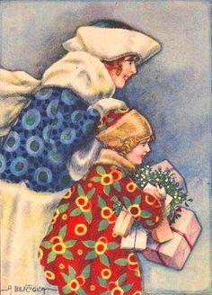 Vintage Christmas by Bertiglia postcard.