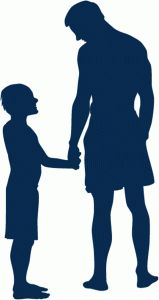 Silhouette Design Store: father and son holding hands silhouette