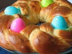 BEING PORTUGUESE at EASTER means eggs in your sweet bread lol. This is what mine looks like.