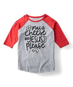 This Athletic Heater 'Mac & Cheese & Jesus' Raglan Tee - Toddler & Kids by Solid Light is perfect! #zulilyfinds