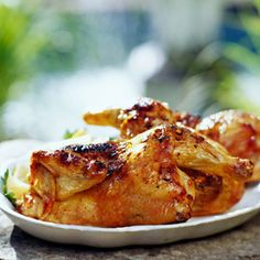 This Brazilian grilled chicken main dish recipe comes with flavor to spare from a garlic, salt, and olive oil mixture.
