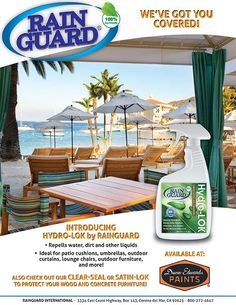 Hydro-lok multi-surface liquid repellant available at Dunn-Edwards Paints near you! #waterproof your #patiofurniture and protect your investments. Rainguard is here to help! #DunnEdwards #DunnEdwardsPaints