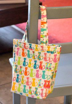 Small tote 100% cotton white with colorful cats by PuppyPawzBoutique on Etsy