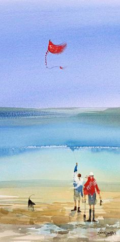 Sue Howells Kite Flyers Signed Limited Edition Print | Contemporary Art