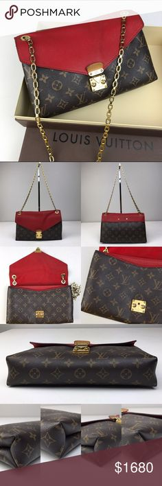 """Louis Vuitton Monogram Pallas Gold Chain Bag. Red calf leather accent at flap, single slit pocket at exterior, three interior compartments; one with zip closure, single slit pocket at interior wall and flap with push-lock closure at front. Made in USA.    In good pre-owned condition. Corners wear, minor scuffs on the exterior.  Lining has black stains.  Discoloration and scratches on gold push lock.  Dust bag not included.  Box included. See pictures for details.     Strap Drop: 11.5""""…"""