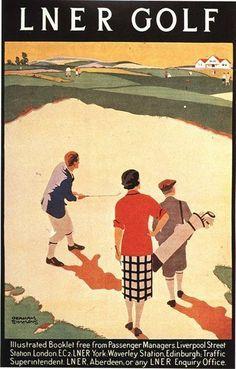 Golfing Holidays Railway Poster Vintage 1930 s LNER