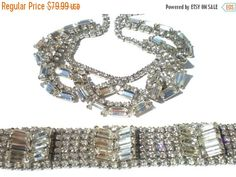 Vintage Rhinestone Jewelry Draping 16 Necklace & 6 by RibbonsEdge
