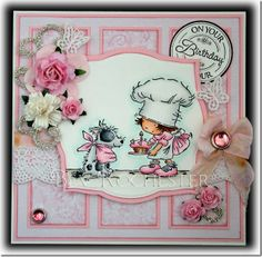 It's Lili of the Valley Challenge day today and this week we have a brilliant sketch by our Donalda . The image is Doggie Delight fr. Card Making Inspiration, Making Ideas, Lily Of The Valley, Copics, Paper Background, Cool Cards, Kids Cards, Creative Cards, Birthday Cards