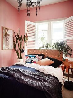 Aleha Rose pink bedroom by Haymes paint - Warm up your home with pink wall colour Dusty Pink Bedroom, Pink Bedroom Walls, Bedroom Wall Colors, Pink Bedrooms, Pink Walls, Bedroom Decor, Bedroom Ideas, Bedroom Inspiration, Bedroom Designs