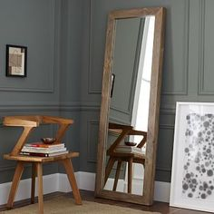 Parsons Floor Mirror - Natural Solid Wood #westelm  Perhaps for the ledge above the fireplace