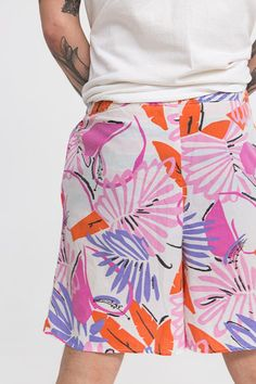 Tropical 80s Summer Shorts / Palm Fronds / Size M