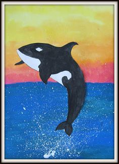 MaryMaking art lesson for Orcas. Line drawing painted and then cut out. Background acrylic and splatter.