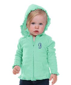 Look what I found on #zulily! Ice Green Initial Hoodie - Infant, Toddler & Girls #zulilyfinds