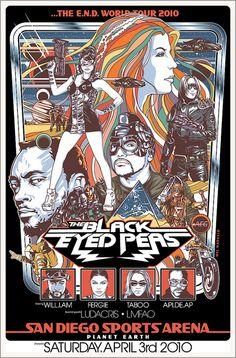 Black Eyed Peas Concert Poster by Mel Marcelo #illustration #poster