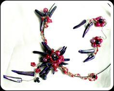 Parure filigrané violet florale en nacre : Parure par camelys-bijoux