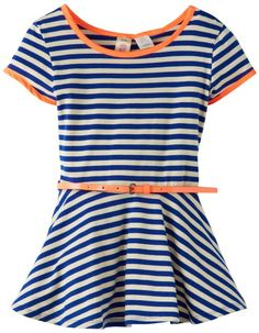 Amazon.com: Kyut Girls 7-16 Belt Peplum Top, Royal/White/Coral, Medium: Clothing