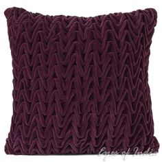 """16"""" Purple Hand-quilted Velvet Toss Cushion Pillow Throw Cover - 15689 
