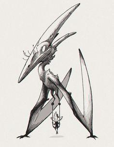 pterodactyl by clara scintilla White Art, Black White, Creature Concept Art, Graphic Design Art, Dinosaurs, Artsy Fartsy, Tattoo Ideas, Creatures, Graphics