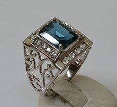 Vintage Ringe - Ring Silber 925 Kristallsteine petrol/klar SR703 - ein…