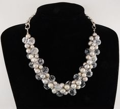Antiqued Matte Silver Ep Gray Bead & Clear Acrylic Bead Cluster Necklace #Cluster