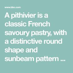 A pithivier is a classic French savoury pastry, with a distinctive round shape and sunbeam pattern scored on top. Here the pastry is filled with potatoes, red peppers, spinach and garlic in colourful layers.