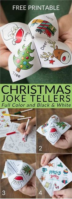 Christmas joke tellers | Christmas jokes for kids | school party | Christmas party | free printable | holiday jokes for kids | cootie catcher | fortune teller | #Christmas #fortuneteller #joketeller via @brendidblog