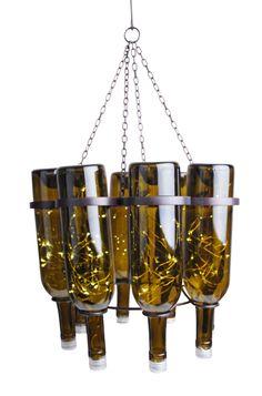 Wine bottle chandelier –creative upcycling ideas for lighting fixtures Best Kitchen Lighting, Kitchen Lighting Fixtures, Modern Light Fixtures, Rustic Lighting, Home Lighting, Lighting Ideas, Diy Design, Wine Bottle Chandelier, Wine Bottles