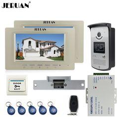 JERUAN Home 7`` LCD screen video door phone Entry intercom system kit 700TVL RFID Access IR Night Vision COMS Camera 1V2