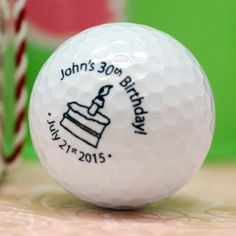 Personalized Birthday Golf Ball. Great idea as a golf gift. It would be cool to have it made into a custom golf ball marker and given as a set.