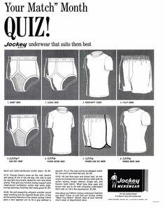 1965 advert for Jockey men's underwear.  Your Match month quiz Jockey underwear suits them best