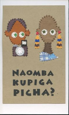 naomba kupiga picha? (can i take your picture?) swahili flashcards 4x6 inches hand-cut and sewn paper collage