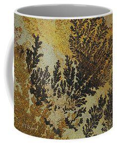 Dendrites On Sandstone Coffee Mug featuring the digital art Dendrites On Sandstone by Tom Janca