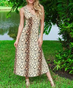Click here to sign up and enjoy discovering your own zulily.com treasures! http://www.zulily.com/invite/plawrencejessen491 Loving this Beige Reptile Cutout Maxi Dress on #zulily! #zulilyfinds