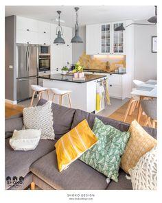 Modern BOHO. - Średnia otwarta kuchnia w kształcie litery l w aneksie z wyspą, styl skandynawski - zdjęcie od SHOKO.design